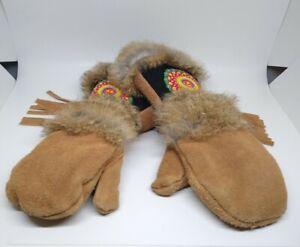 RARE Astis Leather Rabbit Fur Kids Mittens Gloves Polartec