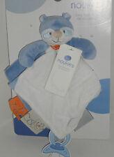 Doudou Plat William Le Raton Laveur Bleu Blanc Attache Tétine Noukie's Neuf