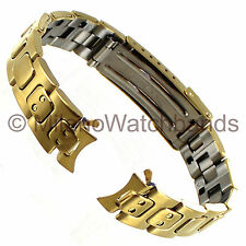 14mm Name Brand Stainless Curved&Straight Dots Gold Tone Clasp Safety Watch Band