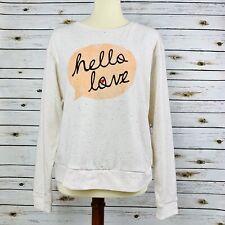 Ace Delivery Confetti Hello Love Graphic Sweater Sweatshirt Pullover White Large