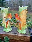 Antique Meissen Orange LOVEBIRDS Parakeet in Corn PAIR OF VASES Made In Germany