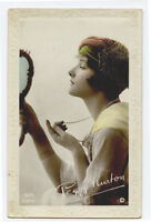 1910s Young GLAMOUR BEAUTY Lady Pretty Peggy Kurton British photo postcard