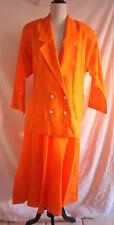 Vintage 1980s Bright Orange Linen Padded Shoulder Skirt jacket Suit sz L