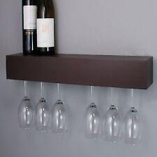 Wine Glass Rack Holder Wall Wood Hanging Storage Hanger Bar Mount Cabinet Shelf