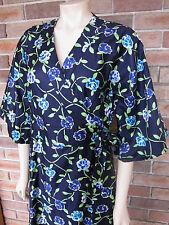 Handmade Vintage Polished Floral Cotton Wrap Around Dress ~ SIZE 12-14