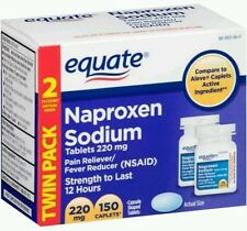 Equate Naproxen Sodium Pain Reliever 220mg 75 count (Pack of 2) No box