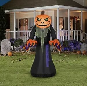 NEW 4 Ft Halloween Pumpkin Reaper With LED Lights Inflatable Same Day Shipping🎃