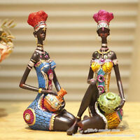Exotic African Tribal Woman Resin Figurine, Creative Home Decor Statue