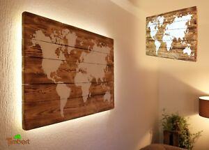 Carte Du Monde sur Bois Avec Éclairage LED Tableau Palette Massif Déco Cadeau