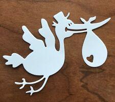 10 Pcs Stork with Baby Sack Boy, Girl. Paper die cut. Cardmaking Embellishment.