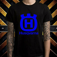 Husqvarna Motorcycle Racing Sport Logo Men's Black T-Shirt Size S to 3XL