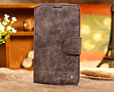Genuine Leather Flip Credit Card Slot Stand Cover Case Wallet For iPhone Samsung