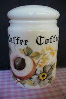VINTAGE COFFEE CAFE FRENCH STORAGE JAR, LIDDED CERAMIC POT, RETRO FLORAL PATTERN