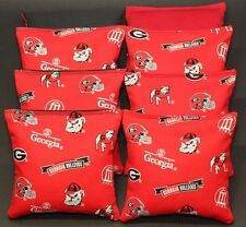 Georgia Bulldogs 8 Cornhole Bean Bags/ Baggo Toss Top Quality Handmade! New!