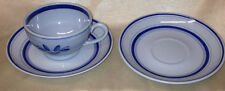 ARABIA OF FINLAND BLUE ROSE DEMITASSE CUP & 2 SAUCERS  FLOWER & LINES SUOMI