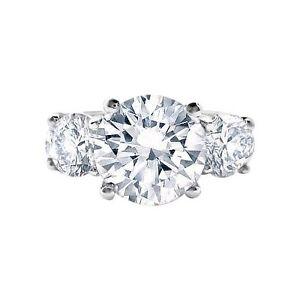 3.09 ct G VS2 ROUND CUT 3 STONE DIAMOND ENGAGEMENT RING