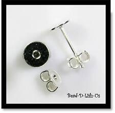 20 x SILVER 6mm Flat Glue Pad Studs Earring Posts & Backs DIY Jewellery
