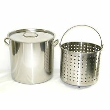80 qt Quart 20 Gal Stainless Steel Stock Pot Steamer Boil Basket Beer Brew Fry