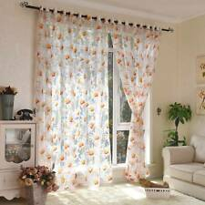 Modern Tulle Curtains for Living Room Bedroom Kitchen Curtains Yellow Floral