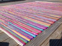Rug PLAIN MULTI COLOUR CHINDI RAG RUG 150cm x 300cm LARGE 10ft FESTIVAL CAMPING