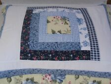 Vintage Hand Stitched Blue Yellow Floral Check Patchwork Standard Pillow Sham