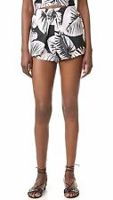 BNWT KENDALL + KYLIE 'pleated silk shorts' leaf print high waisted XS RRP $128