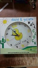 "DAVID & GOLIATH CO 9 1/2"" BATTERY WALL CLOCK CHICKS RULE DESIGN NEW IN BOX"