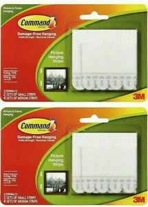 Command Picture Hanging Strips 2 Sets Small Strips 4 Sets Medium Strips Dmgd Box