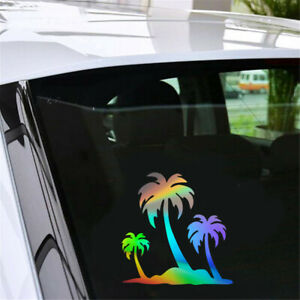 1pcs Funny Palm Tree On Island Car Auto Window Door Laptop Wall Stickers Decal