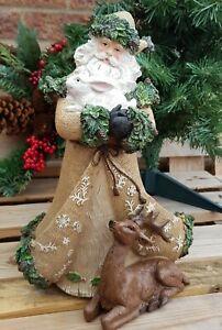 32cm Woodland Forest Father Christmas Figure Green Man Santa Xmas Decoration