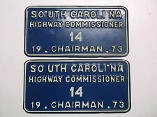 1973 South Carolina HIGHWAY COMMISSIONER Chairman License Plates Pair Low Number