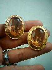 Runway statement VTG. YSL Yves saint Laurent yellow gold tone clip earrings