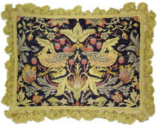 "14""x18"" Handmade Wool Needlepoint Petit Point William Morris Yellow Birds Pillow"