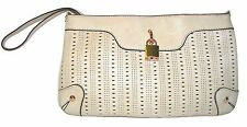 MELIE BIANCO Beige Perforated Handbag  Shoulderbag Purse Clutch Wristlet NWT