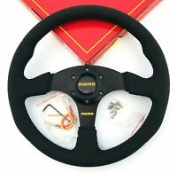 340mm Black Stitch Leather Steering Wheel Flat For MOMO Racing OMP Drifting ND.