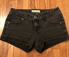 PARIS BLUES Black Denim Shorts Cuffed Raw Hem Low Rise 5 Pocket Styling Jr 3