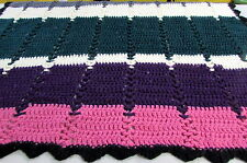 Afghan Handmade Crochet Blanket Throw Striped Knit Multi-color Bright Warm Gift
