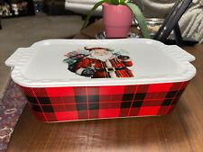 Grace Pantry Christmas Santa Lidded Baker Casserole Dish Oven Safe 10�x7�