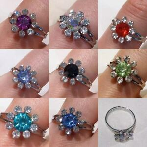 Adjustable Crystal Girl Floral Multi Color Diamante Finger Rings Party Gift Prom