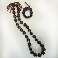 Hawaiian Brown Kukui Nut Lei Luau Boho Bead Necklace and Stretch Bracelet