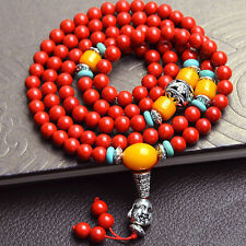 108 Natural Cinnabar Beads Tibetan Silver Buddhist Prayer Lucky Bracelet 6mm