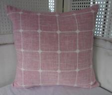 Hamptons Coastal Dusky Pink & White Linen Cushion Cover 45