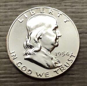 1954 Franklin Half Dollar 50c Gem Proof Silver Coin (F100)