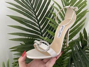 Jimmy Choo Ivory Crystal Buckle Sandals  Size 6/39  New - Ex Display