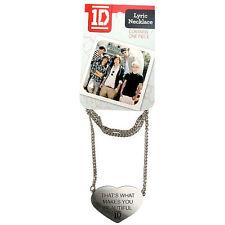 1D One Direction Collier avec paroles cœur forme Filles Fan Cadeau Argent Nouveau