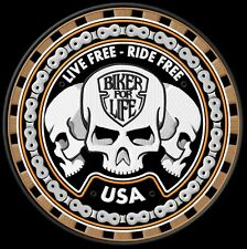 Trio Sculls Live Free Ride Free Biker for Live Backpatch Kutte MC Biker Kerosin