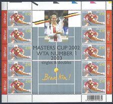 Belgium**TENNIS-KIM CLIJSTERS-SHEET 10stamps-MASTERS CUP 2002