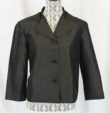 RALPH LAUREN Womens Black 100 % Silk Blazer Jacket Coat 3/4 Sleeves Size 14