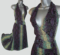KAREN MILLEN UK 10 Snake Print Halterneck Side Pleated Midi Formal Casual Dress