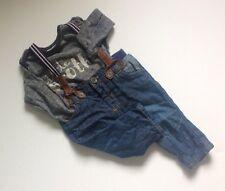 Newborn Baby Boys Matalan Blue Jeans + Suspenders & Grey NEXT T-shirt Top